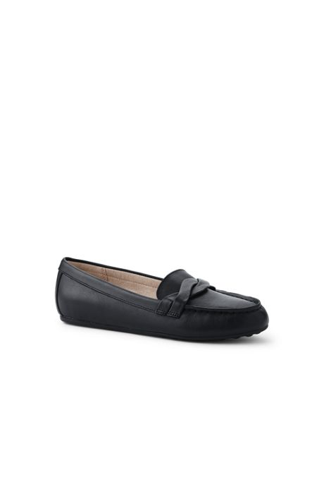 School Uniform Women's Wide Width Comfort Leather Slip On Loafer Shoes