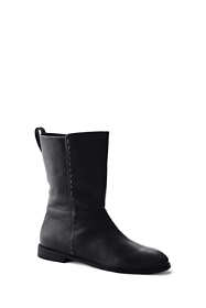 Women's Leather Mid Calf Flat Boots