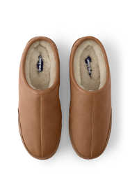 Men's Leather Shearling Fur Clog Slippers