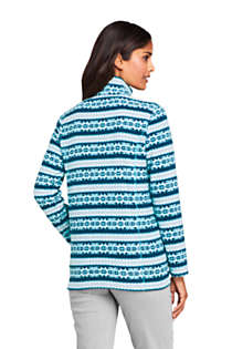 Women's Petite Print Full Zip Fleece Jacket, Back