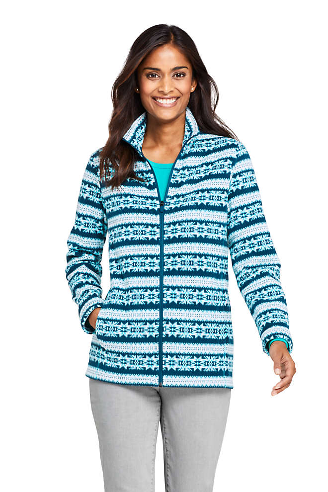 Women's Petite Print Full Zip Fleece Jacket, Front