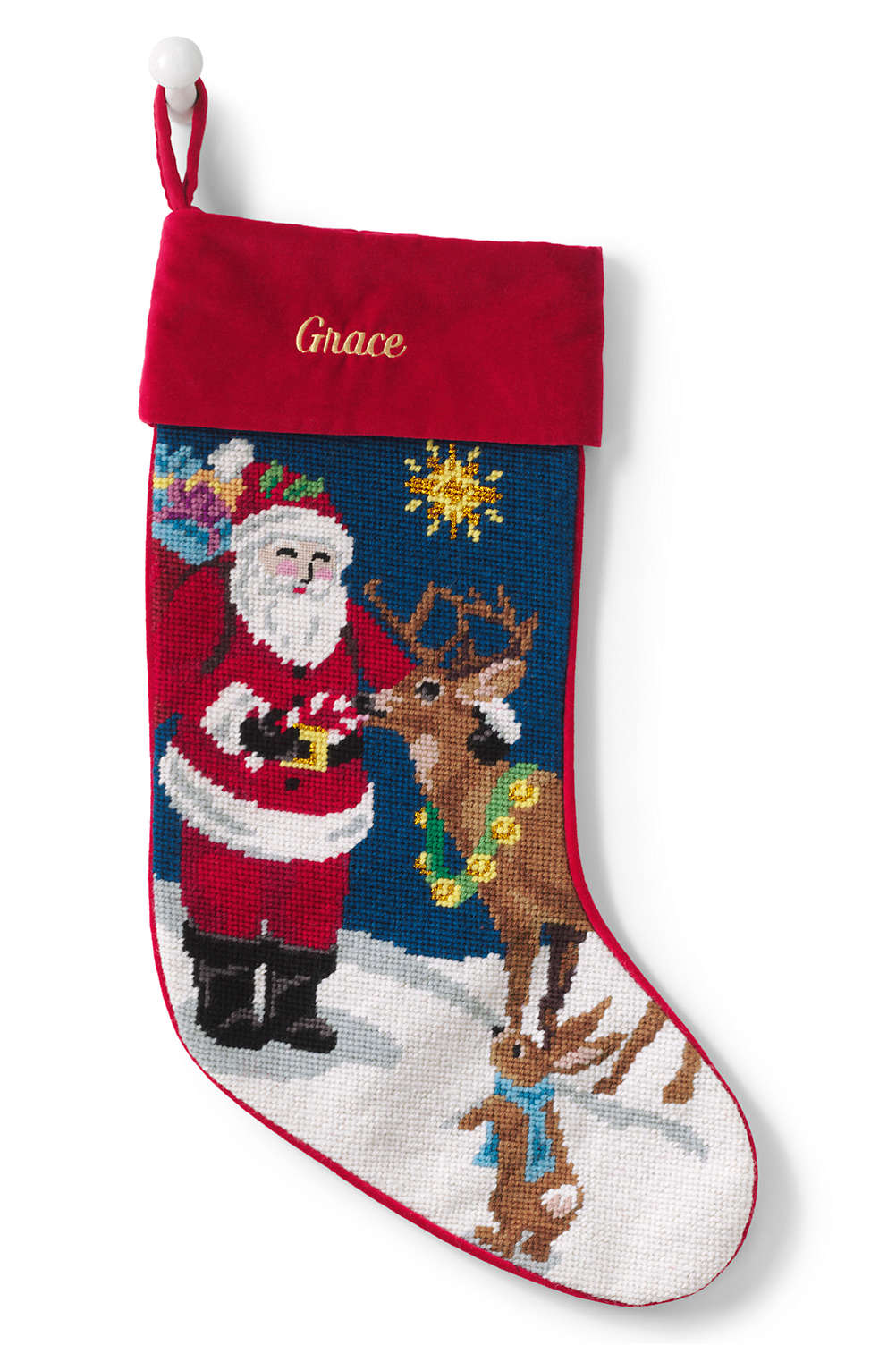Lands End Christmas Stockings.Needlepoint Personalized Christmas Stocking With Velvet Cuff