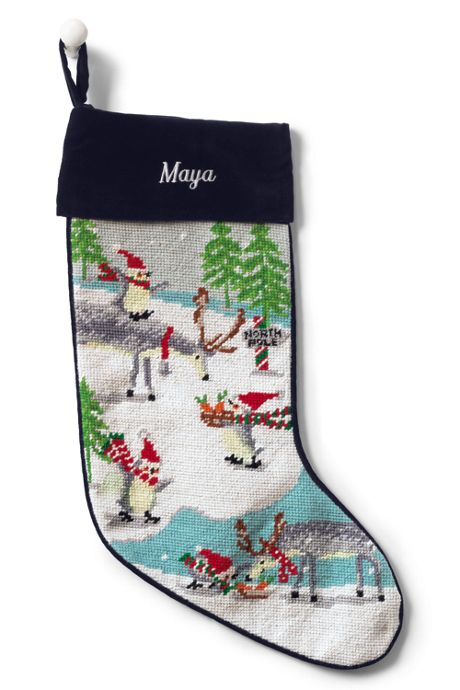 Needlepoint Personalized Christmas Stocking with Velvet Cuff