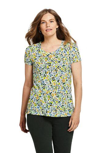 Floral Linen/Cotton Twist Neckline Tunic, Women, Size: 8 Regular, Ivory, By Lands' End