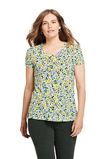 T-Shirt Long Imprimé Lin et Coton Col Twisté, Femme