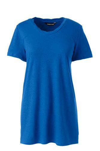 T-Shirt Long Lin et Coton Col Twisté, Femme Stature Standard