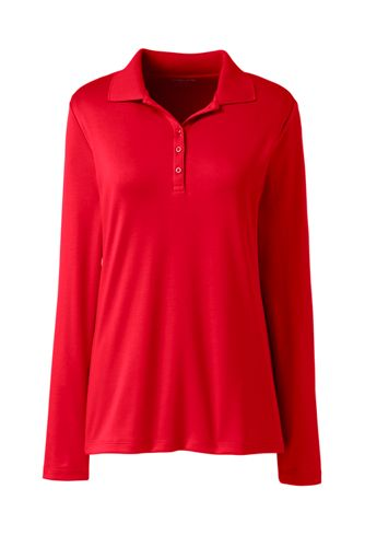 Women's Petite Long Sleeve Supima Cotton Polo Shirt