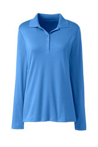 Supima Poloshirt mit langen Ärmeln für Damen   Lands' End