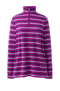 Women's Long Sleeve Quarter Zip Serious Sweats Tunic Sweatshirt Stripe, Front