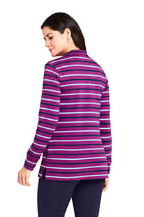 Women's Long Sleeve Quarter Zip Serious Sweats Tunic Sweatshirt Stripe, Back