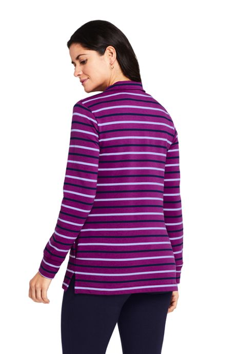 Women's Petite Long Sleeve Quarter Zip Serious Sweats Tunic Sweatshirt Stripe