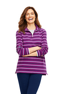 Sweatshirt Long 1/2 Zip Rayé, Femme