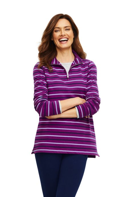 Women's Long Sleeve Quarter Zip Serious Sweats Tunic Sweatshirt Stripe