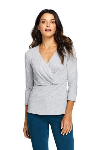 Women's Three-quarter Sleeve Wrap Front Top