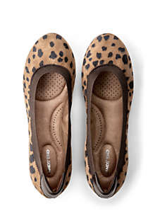 Women's Comfort Elastic Suede Leather Slip On Ballet Flat Shoes-Animal Print, alternative image