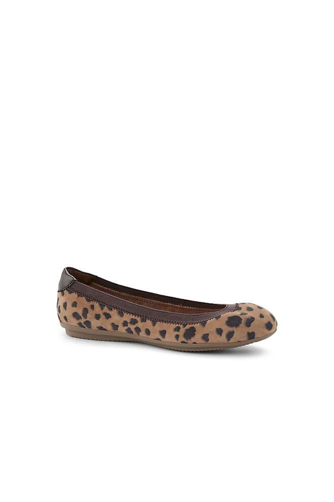 Women's Comfort Elastic Suede Leather Slip On Ballet Flat Shoes-Animal Print, Front