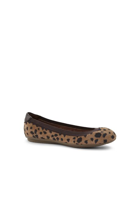 Women's Wide Width Comfort Elastic Suede Leather Slip On Ballet Flat Shoes-Animal Print