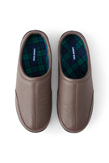 Men's Leather Slippers with Flannel Lining