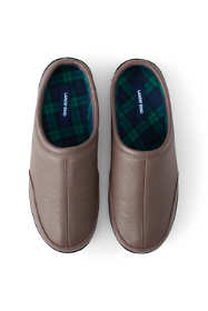 Men's Leather Flannel Lined Clog Slippers