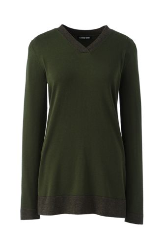 Women's V-Neck Cotton Tunic Jumper