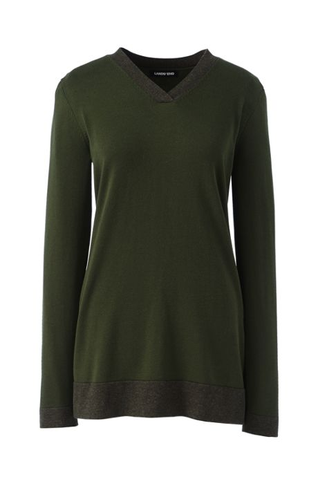 Women's Petite Cotton V-neck Tunic