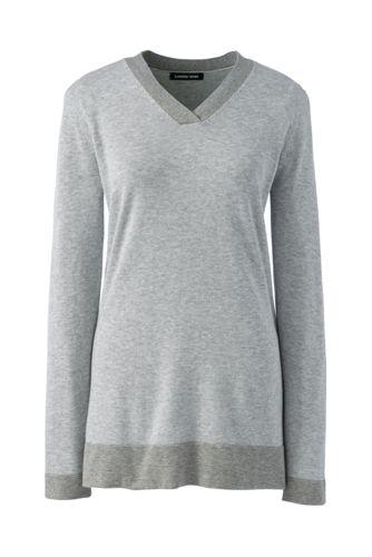 Women's V-Neck Cotton Tunic Jumper