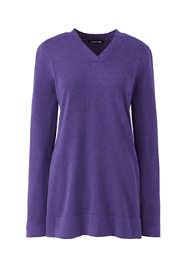 Women's Petite Cotton V-neck Tunic Sweater