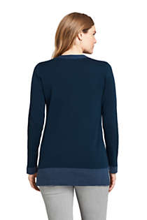 Women's Cotton V-neck Tunic Sweater, Back