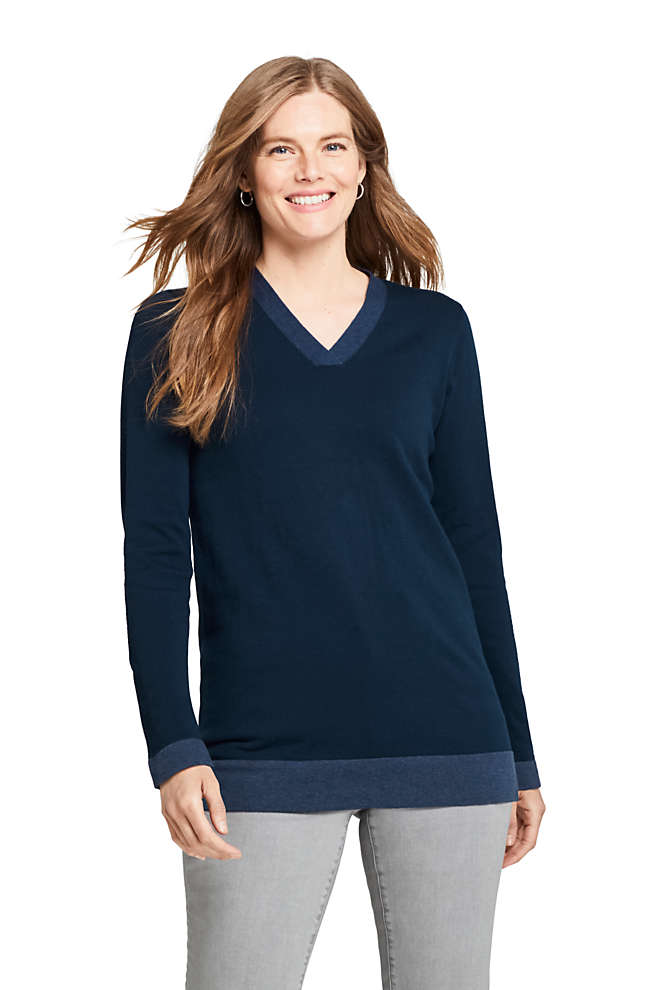 Women's Cotton V-neck Tunic Sweater, Front