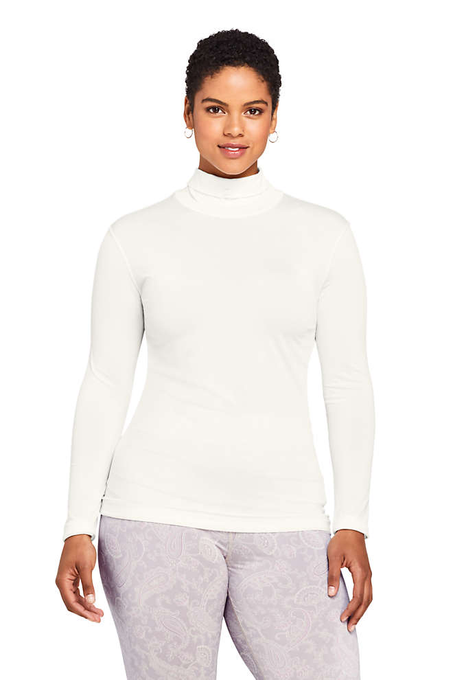 Women's Plus Size Natural Thermaskin Turtleneck, Front