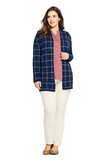 Women's Plus Size Cotton Open Long Cardigan Sweater - Print, alternative image