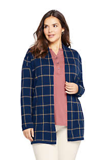 Women's Plus Size Cotton Open Long Cardigan Sweater - Print, Front