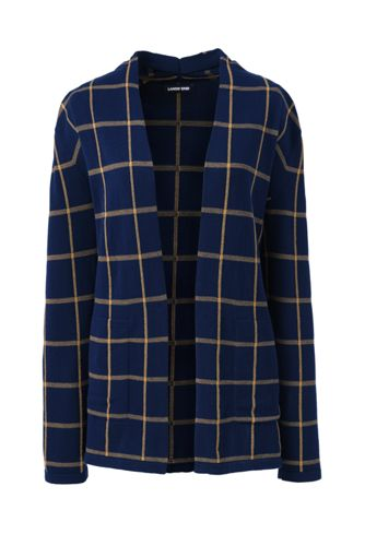 Women's Windowpane Check Open Cardigan