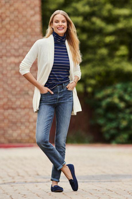Women's Petite 3/4 Sleeve Textured Long Cardigan Sweater