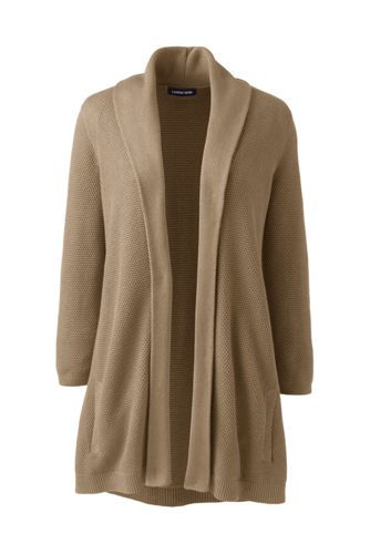 Women's Petite Three-quarter Sleeve Textured Open Cardigan