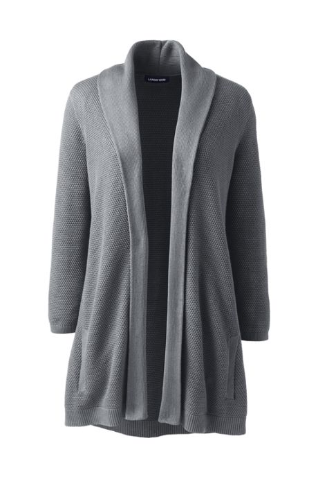 Women's Plus Size 3/4 Sleeve Textured Long Cardigan Sweater