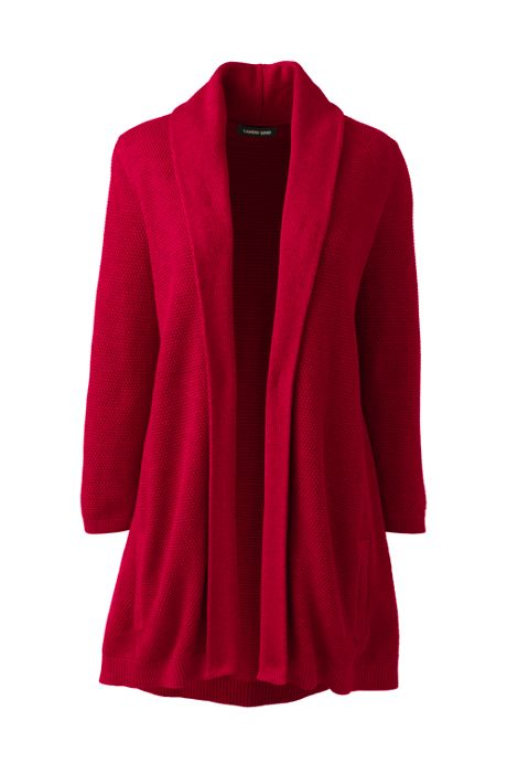 Women's Petite 3/4 Sleeve Textured Long Cardigan Sweater
