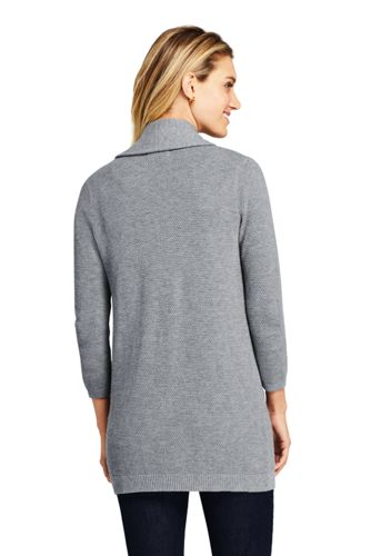 Women's 3/4 Sleeve Textured Long Cardigan Sweater