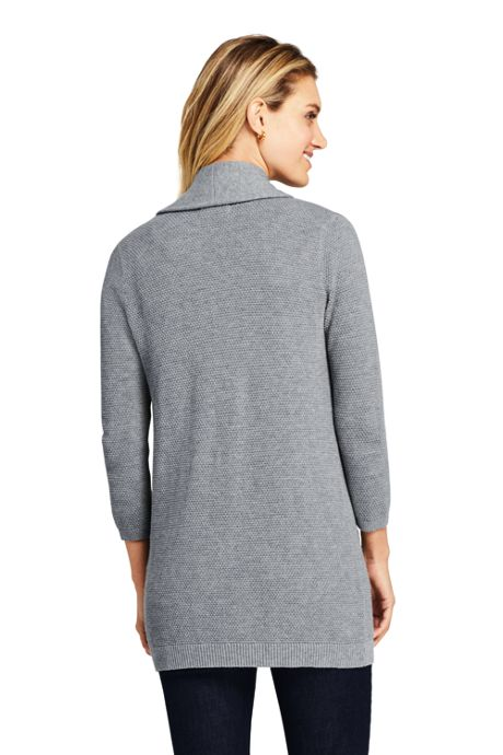 Women's 3/4 Sleeve Textured Cardigan Sweater