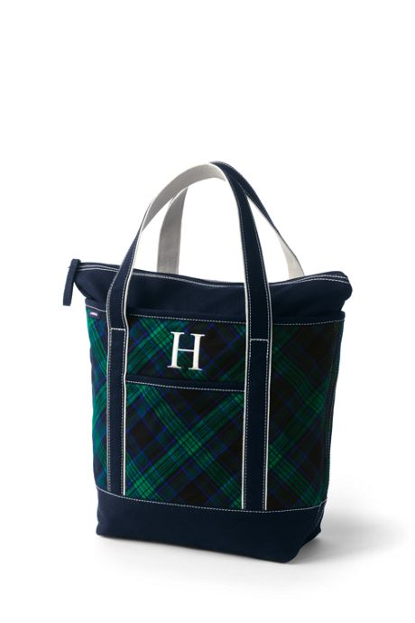 Flannel Medium Zip Top Tote Bag