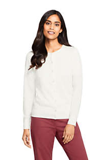 Women's Petite Supima Cotton Cardigan Sweater - Textured, Front
