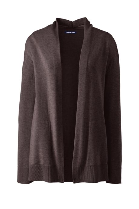 Women's Petite Cotton Open Long Cardigan Sweater