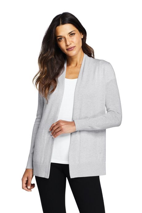 Women's Tall Cotton Long Sleeve Open Cardigan Sweater