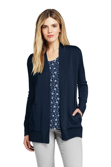 Women's Cotton Open Long Cardigan Sweater