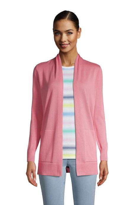 Women's Tall Cotton Open Long Cardigan Sweater