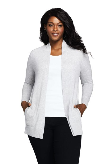 Women's Plus Size Cotton Long Sleeve Open Cardigan Sweater
