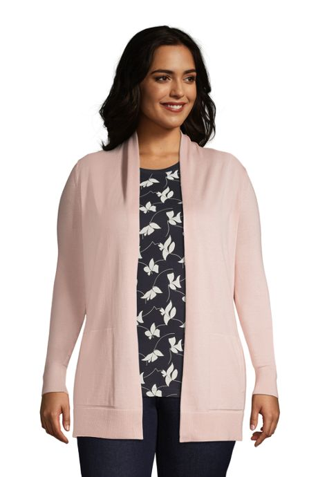Women's Plus Size Cotton Open Long Cardigan Sweater