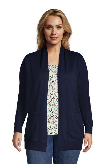 Women's Plus Size Cotton Open Long Cardigan Sweater