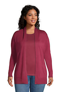 Women's Plus Size Cotton Open Long Cardigan Sweater, Front