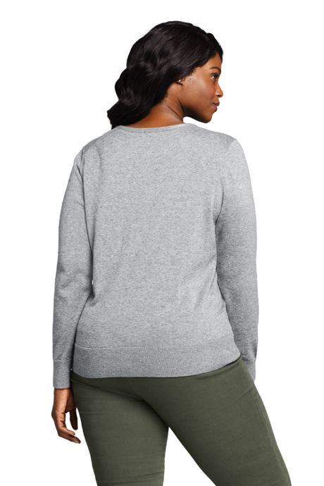 Women's Plus Size Supima Cotton Cardigan Sweater - Textured